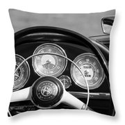 1961 Alfa Romeo Giulietta Spider Steering Wheel Emblem -1185bw Throw Pillow