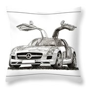 Gull Wing Mercedes Benz S L S Gull-wing Throw Pillow