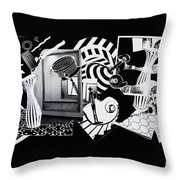 2d Elements In Black And White Throw Pillow