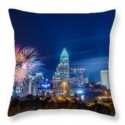 4th Of July Firework Over Charlotte Skyline Throw Pillow by Alex Grichenko