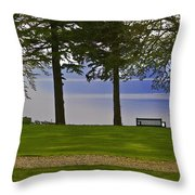 A Bench And Path On The Shore Of Loch Ness In Scotland Throw Pillow