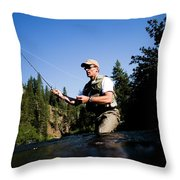 A Fly-fisherman In The Truckee River Throw Pillow