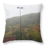 A Foggy Autumn Day At The United States Military Academy Throw Pillow