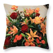 A Gallery's Flowers Throw Pillow