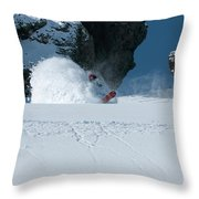A Male Snowboarder Makes A Series Throw Pillow