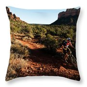 A Middle Age Man Rides His Mountain Throw Pillow