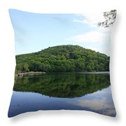 A Reflective View Of Round Pond At The United States Military Academy Throw Pillow