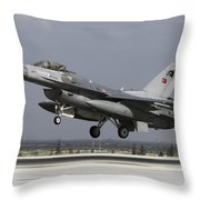 A Turkish Air Force F-16c Fighting Throw Pillow