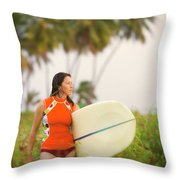 A Woman Carries A Surfboard To The Beach Throw Pillow