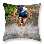 A Woman Mountain Bikes Along Trail 401 Throw Pillow