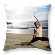 A Women At The Beach Performing Yoga Throw Pillow