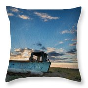 Abandoned Fishing Boat Digital Painting Throw Pillow