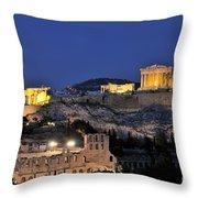 Acropolis Of Athens During Dusk Time Throw Pillow