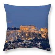 Acropolis Of Athens During Sunrise Throw Pillow