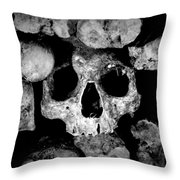 Altered Image Of Skulls And Bones In The Catacombs Of Paris France Throw Pillow
