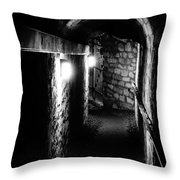 Altered Image Of The Catacomb Tunnels In Paris France Throw Pillow