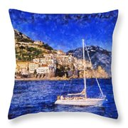 Amalfi Town In Italy Throw Pillow