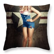 American Fashion Model In Military Pin-up Style Throw Pillow