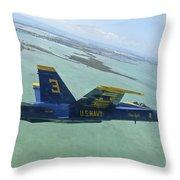 An Fa-18 Hornet Of The Blue Angels Throw Pillow