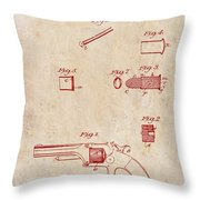 Antique Smith And Wesson Patent For A Metallic Cartridge 1860 Throw Pillow