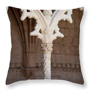 Architectural Details Of Jeronimos Monastery In Lisbon Throw Pillow