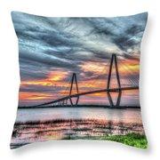 Arthur Ravenel Bridge Stormy Skies Throw Pillow