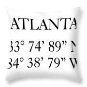Atlanta Coordinates Throw Pillow