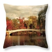 Autumn At Bow Bridge Throw Pillow