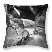 Avalanche Gorge Glacier National Park  Bw  Throw Pillow