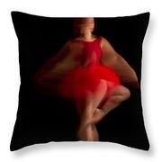 Ballet Dancer In Red Tutu Throw Pillow