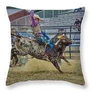 Bareback Bronc Riding Throw Pillow