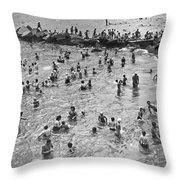 Bathers At Coney Island Throw Pillow