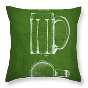 Beer Mug Patent From 1876 - Green Throw Pillow