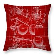 Billiard Bridge Patent 1910 - Red Throw Pillow