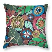 3 Bird Botanical Throw Pillow