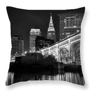 Black And White Cleveland Iconic Scene Throw Pillow