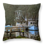3 Blue Boats Throw Pillow