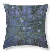 Blue Water Lilies Throw Pillow