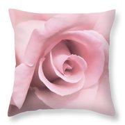 Blushing Pink Rose Flower Throw Pillow