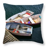 3 Boats Throw Pillow by Emmanuel Panagiotakis