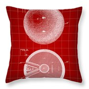 Bowling Ball Patent 1894 - Red Throw Pillow