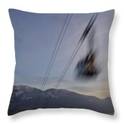 Cableway In Long Exposure Throw Pillow