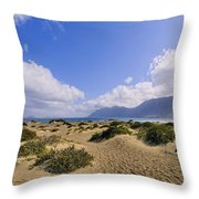 Caleta De Famara Beach On Lanzarote Throw Pillow