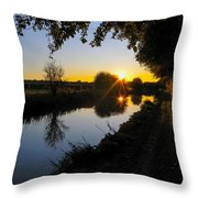 Canal Sunset Throw Pillow
