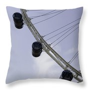 3 Capsules Of The Singapore Flyer Along With The Spokes And Base Throw Pillow