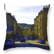Car In A Queue Waiting For A Signal In Edinburgh Throw Pillow