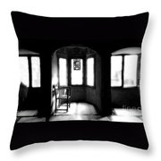 3 Castle Rooms Bw Throw Pillow