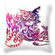 3 Cats Purple Throw Pillow