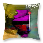 Chicago Illinois Map Watercolor Throw Pillow