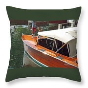 Chris Craft Runabout On Geneva Throw Pillow